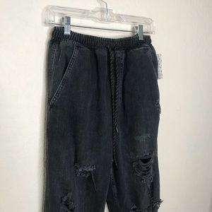 Free People Jeans - Free People Sloan Destructed Joggers Black NWT S